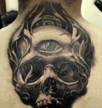 Eye in center of skull tattoo on back