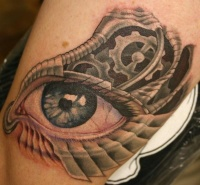Eyeball tattoo on the foot